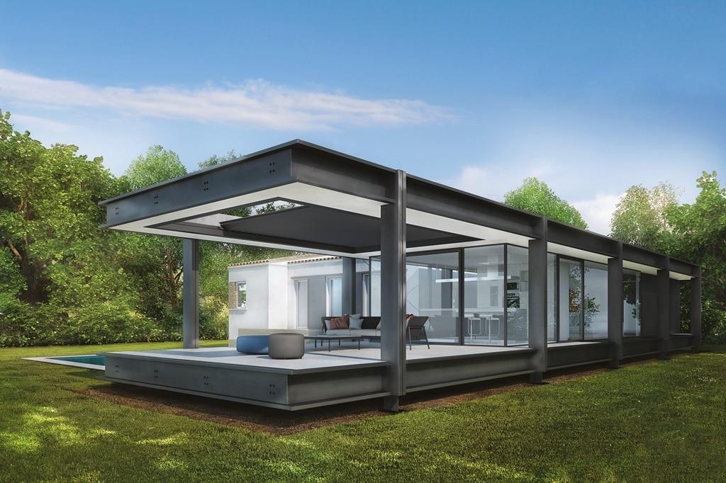 Brera B 01 a | Lamellensonnenschutz bei Terrasse, dunkelgrau beschichtetes Alu | Svoboda Metall