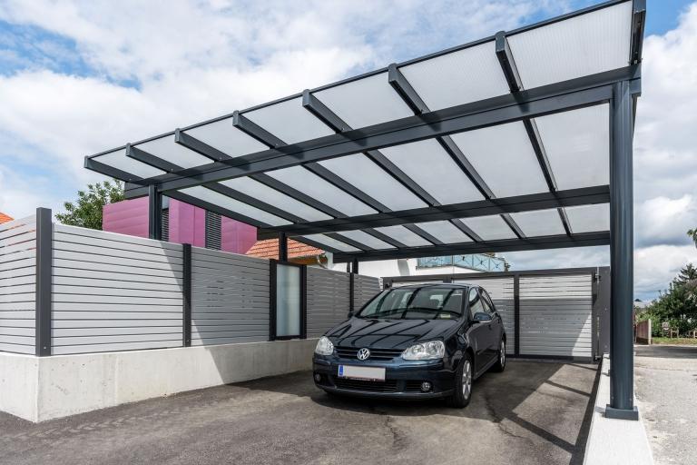 Carport 27 a | Doppelcarport anthrazit mit Doppelstegplatten | Svoboda Metalltechnik