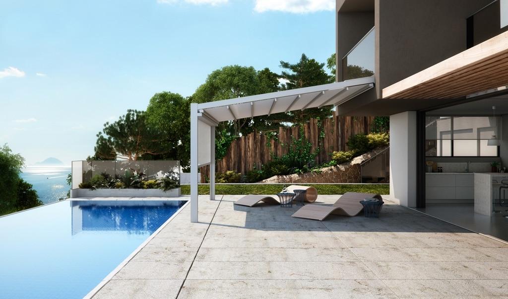 Fusion 01 b   Pergola mit Sonnenschutzmarkise weiß bei Poolanlage an Haus angebaut   Svoboda