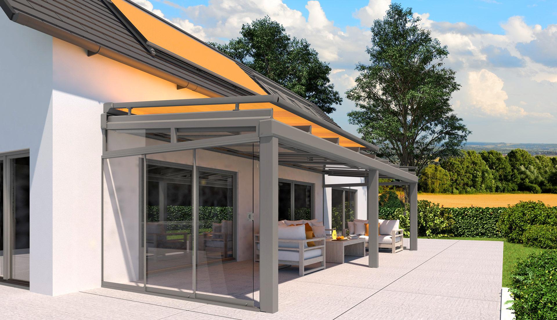 HS 06 a   graue Aufdachmarkise mit orangem Stoff, offen, auf Terrassendach & Dachfenstern   Svoboda