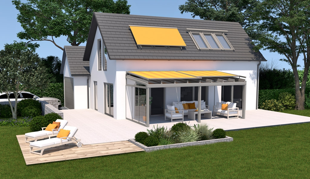 HS 06 b   Sonnenschutzmarkise als Terrassenbeschattung, Beschattung bei Dachfenstern, gelb   Svoboda