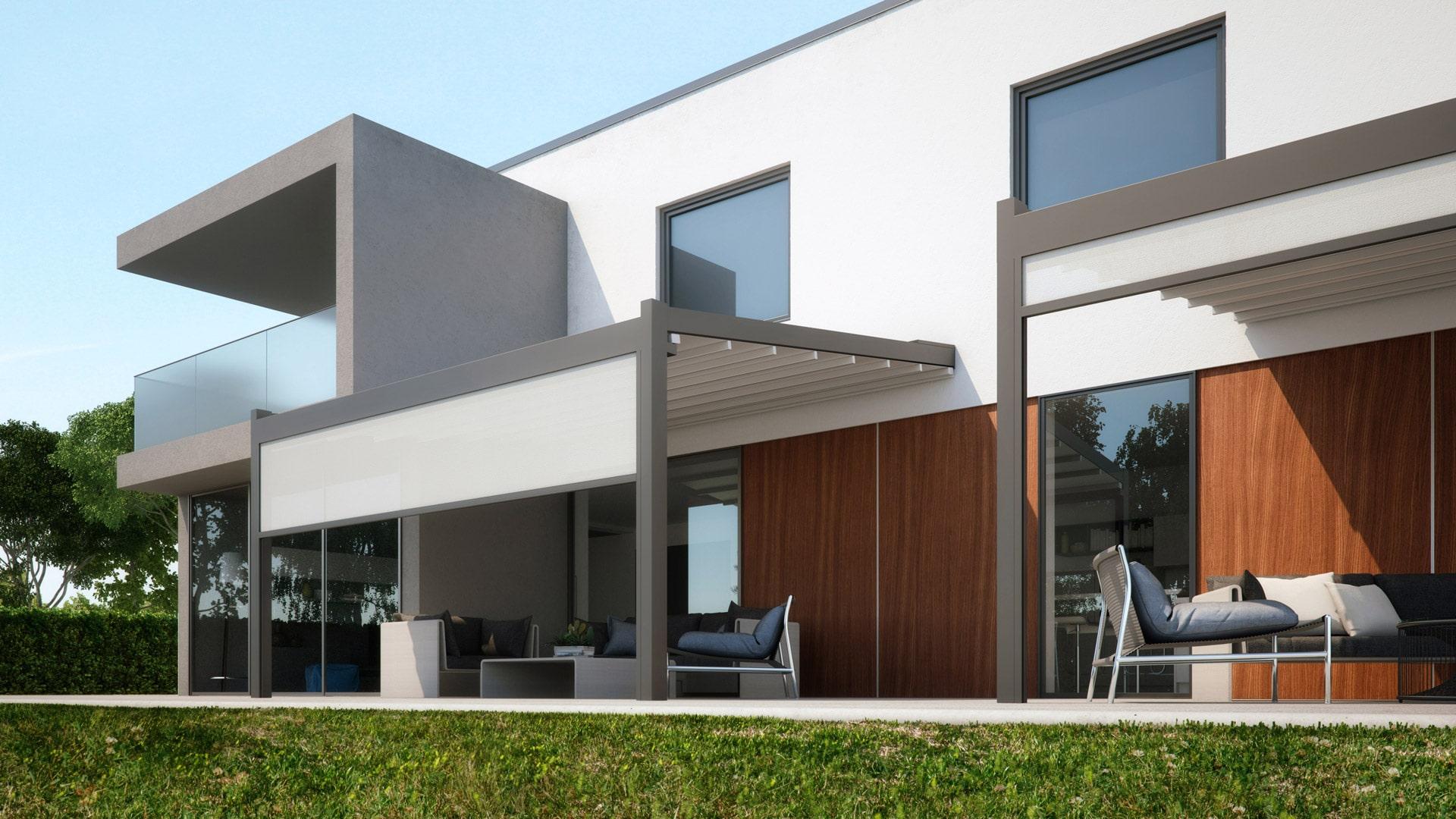 Meta 01 b | Schiebemarkisen auf Terrasse, modernes Haus, Alu grau, Tuch und Z-Markise weiß | Svoboda