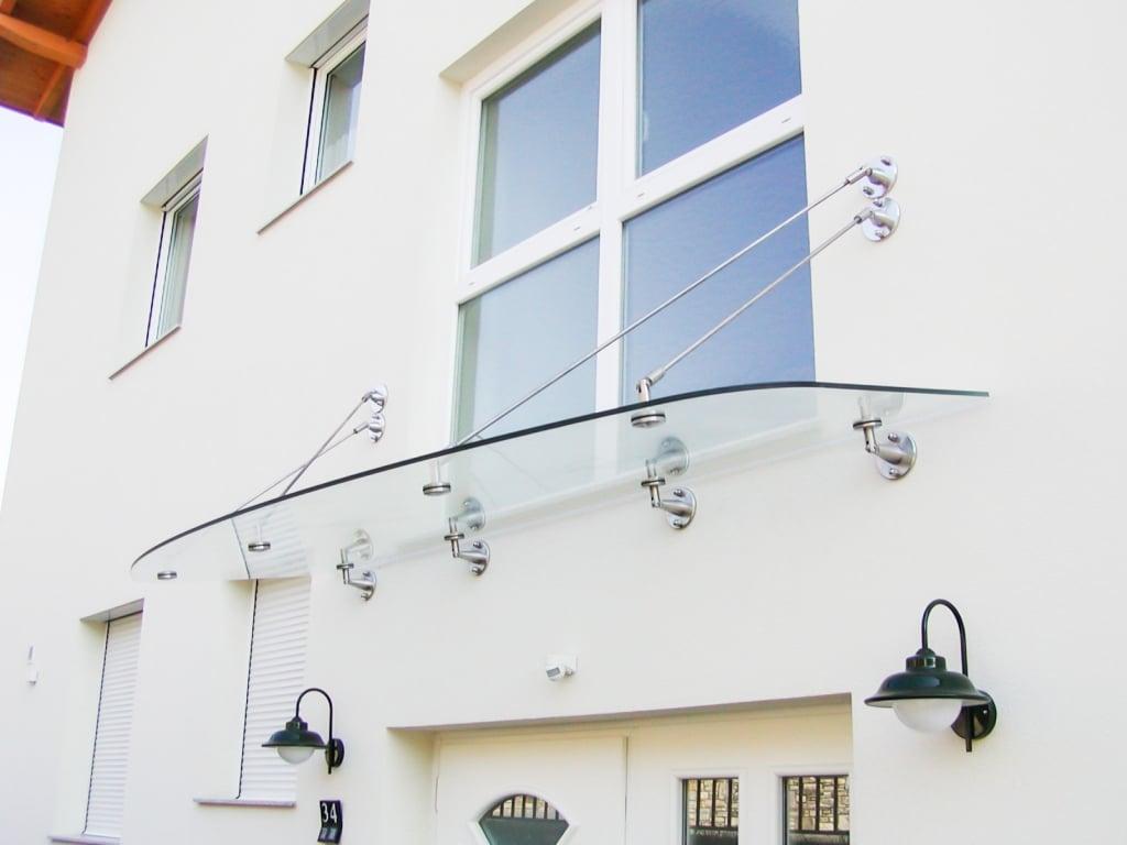 Nurglasvordach 10   Glasvordach mit rundem Klarglas, Befestigung Niro-Punkthalter & Seile   Svoboda