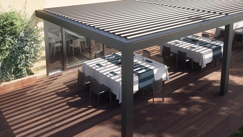 Opera 02 b | Draufsicht Alu-Sonnenschutzlamellen-Gastgartendach grau-weiß mit Schattenwurf | Svoboda