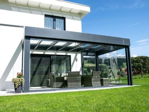 Sommergarten Alu 39 b | gerade Dach Optik mit Attikaverblechung, anthrazit, modern | Svoboda