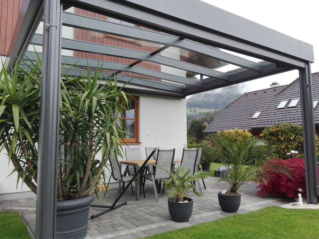 Terrassendach Alu 72 b | Alu-Glas-Überdachung Gefälle beidseitig, Alu-Glas-Satteldach | Svoboda