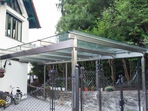 Terrassendach Niro 03 | Edelstahl-Überdachung bei Terrasse mit Klarglas-Eindeckung | Svoboda