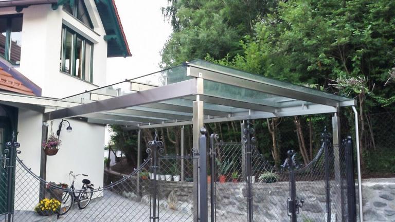 Terrassendach Niro 03   Edelstahl-Überdachung bei Terrasse mit Klarglas-Eindeckung   Svoboda