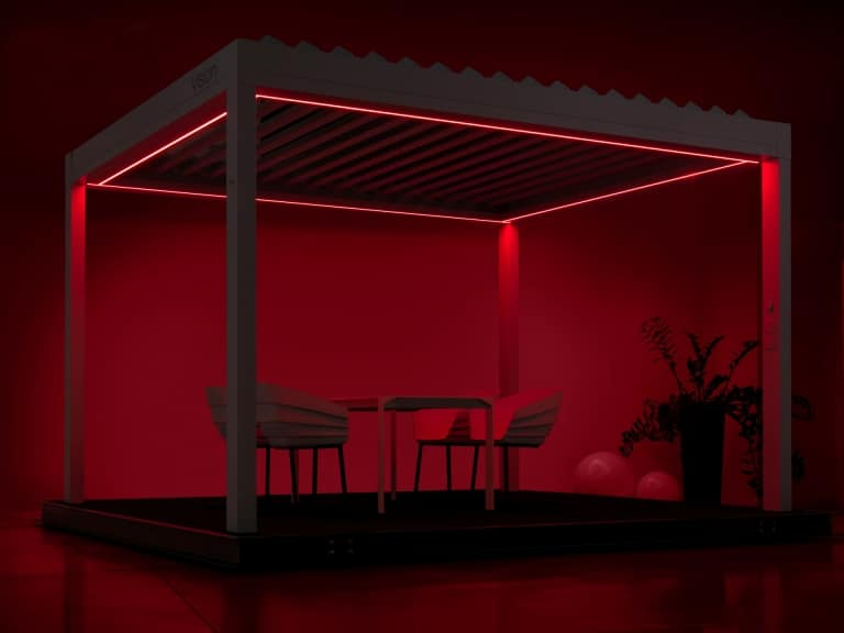 Vision LED 01 b | Lamellendach LED-Beleuchtung rot | Svoboda Metalltechnik