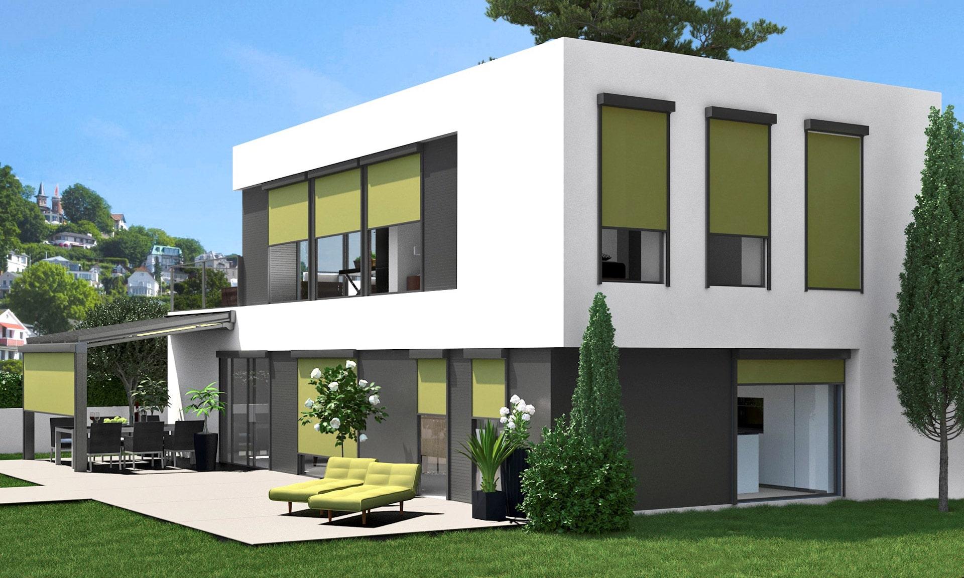 Z 05 a   Senkrechte grüne Sonnenschutz Markisen auf Fenstern bei modernem weiß-grauen Haus   Svoboda