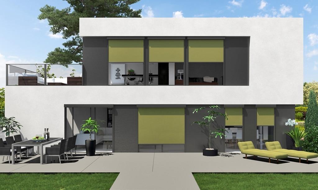 Z 05 b   Senkrechte grüne Sonnenschutz Markisen auf Fenstern bei modernem weiß-grauen Haus   Svoboda