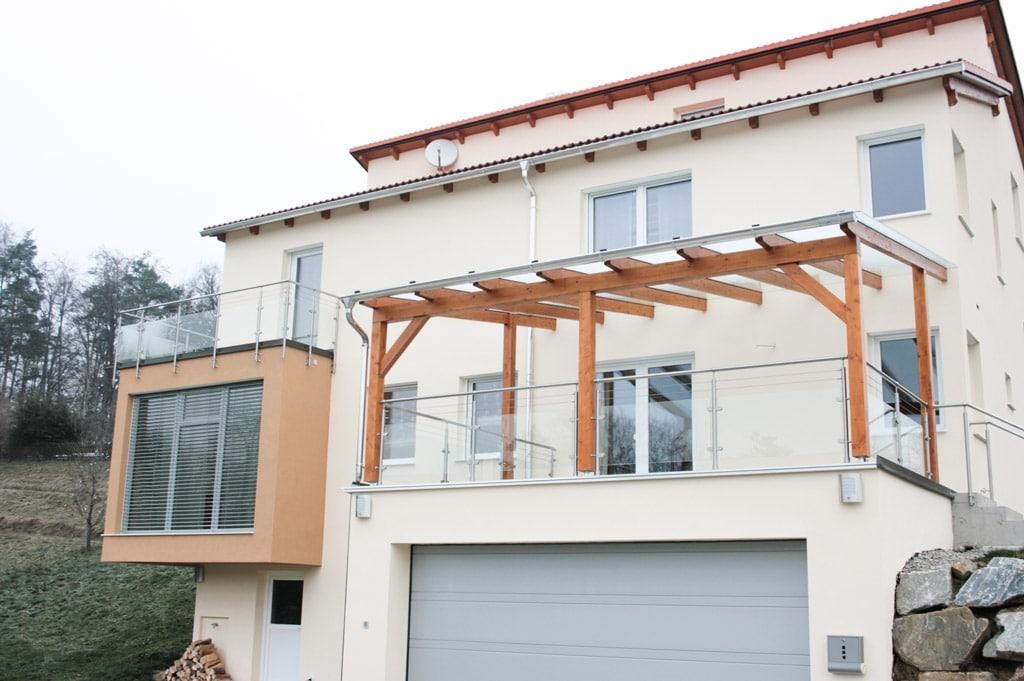 Bremen 08 c | Niro-Terrassengeländer mit Klarglas, Aufsatzmontage und stirnseitige Montage | Svoboda
