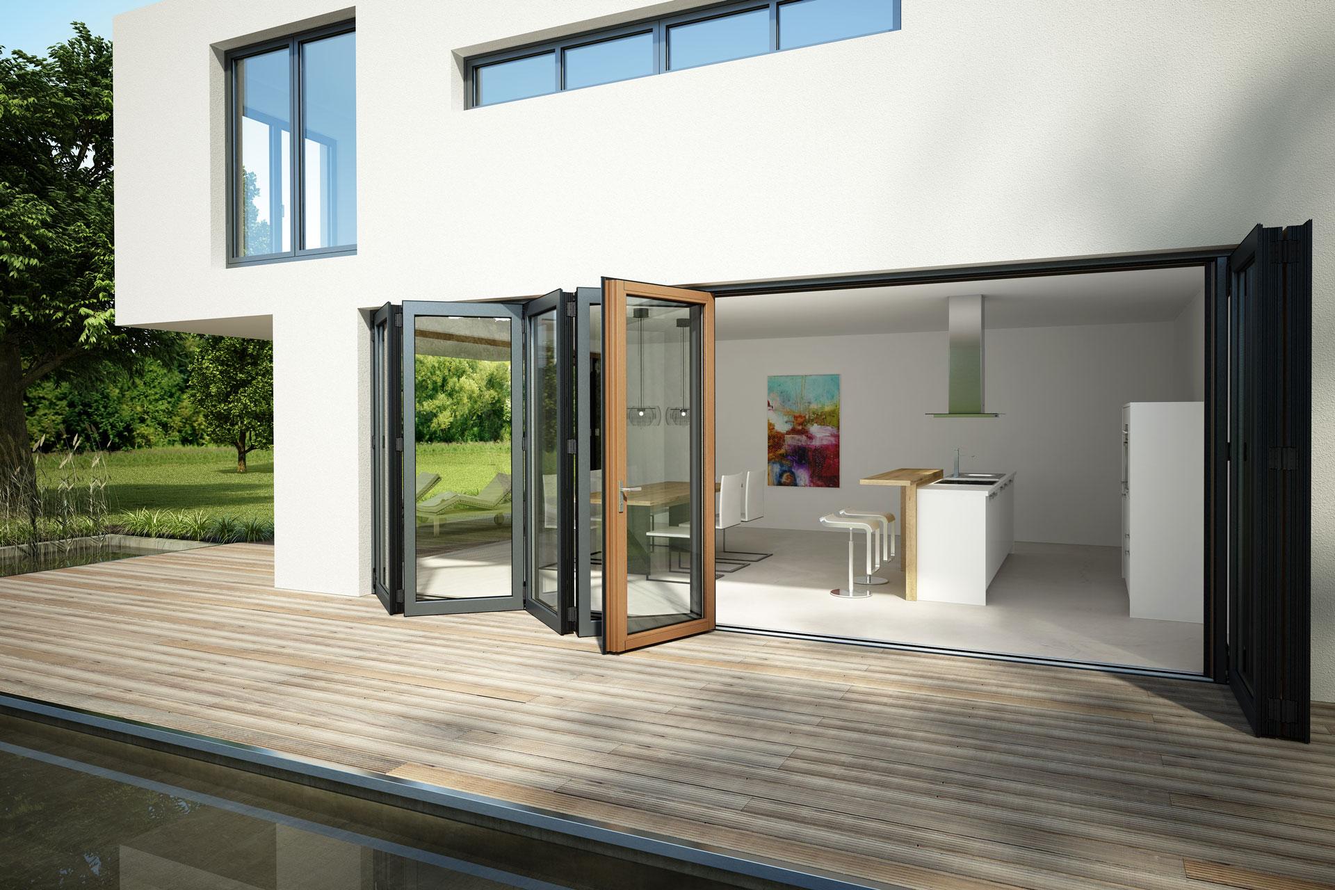 Faltwand 07 a | Verglasung bei modernem Haus mit Zieharmonika-Effekt | Svoboda Metalltechnik