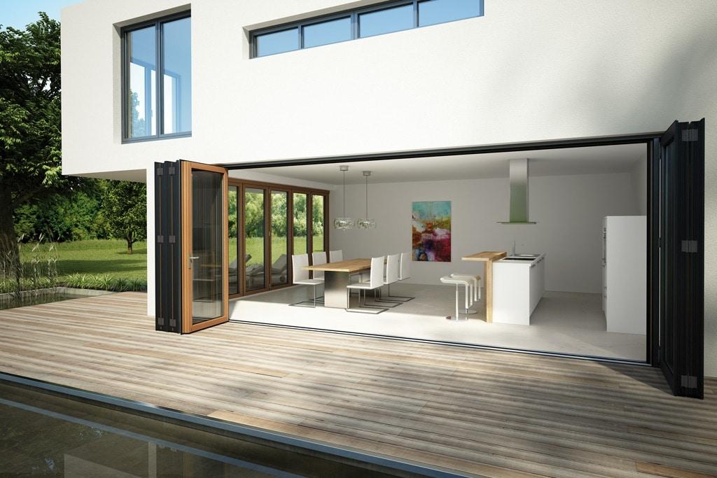 Faltwand 07 b | bei modernem Haus als Vollverglasung Glasfront | Svoboda Metalltechnik