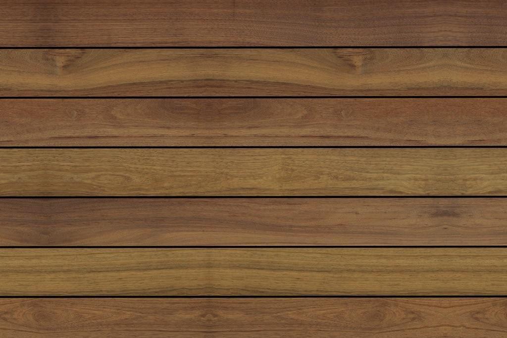 Fano Musterbild IPE 145 mm glatt geölt   Draufsicht, mittelbrauner Echtholz-Outdoor-Boden   Svoboda