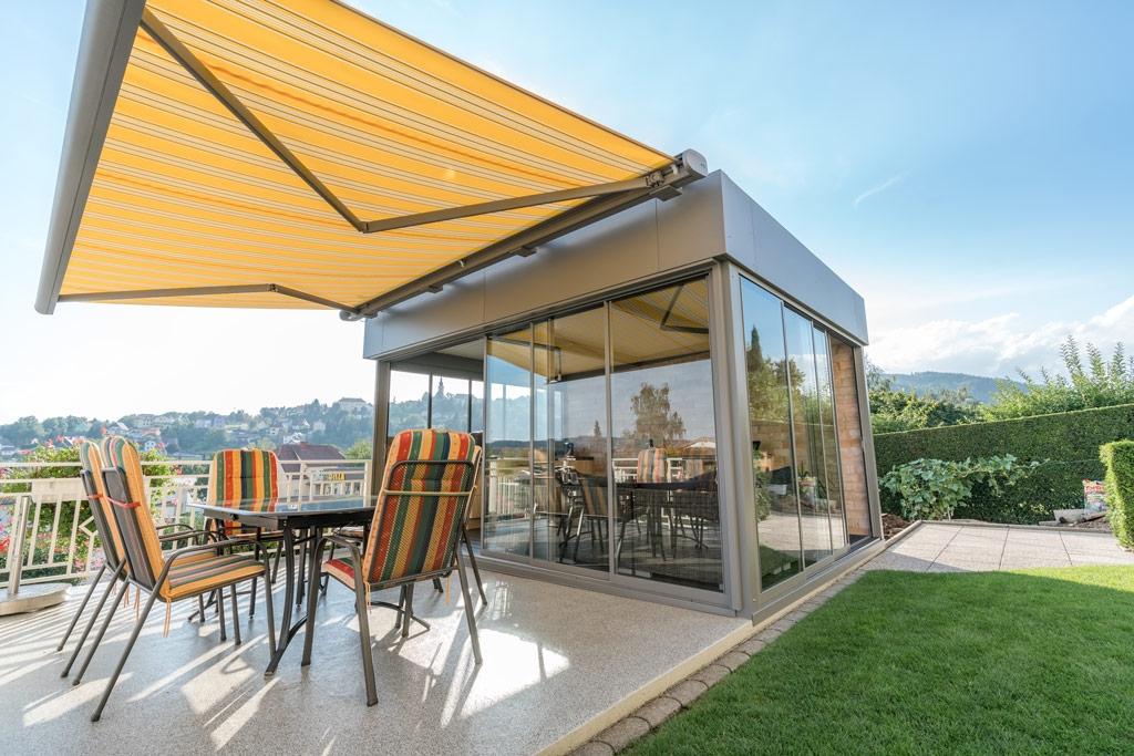 Schiebe R 01 b | Sommergarten mit Wind- und Regenschutz Schiebe-Verglasung inkl. Alurahmen | Svoboda
