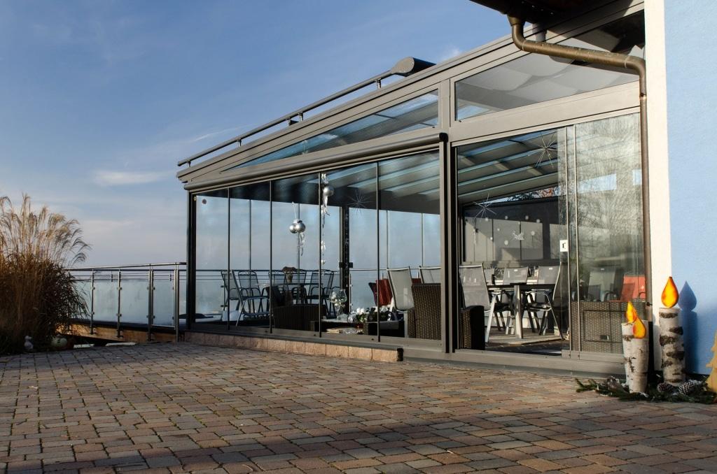 Sommergarten alu 25 a |Gasthaus Terrassendach grau, Verglasung Schutz vor Regen & Wind | Svoboda