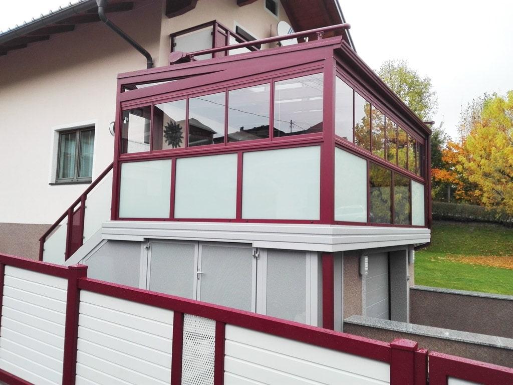 Sommergarten Alu 27 d   verglastes Dach bei Terrasse auf Garage, Glas Matt & Klar, Alu rot   Svoboda