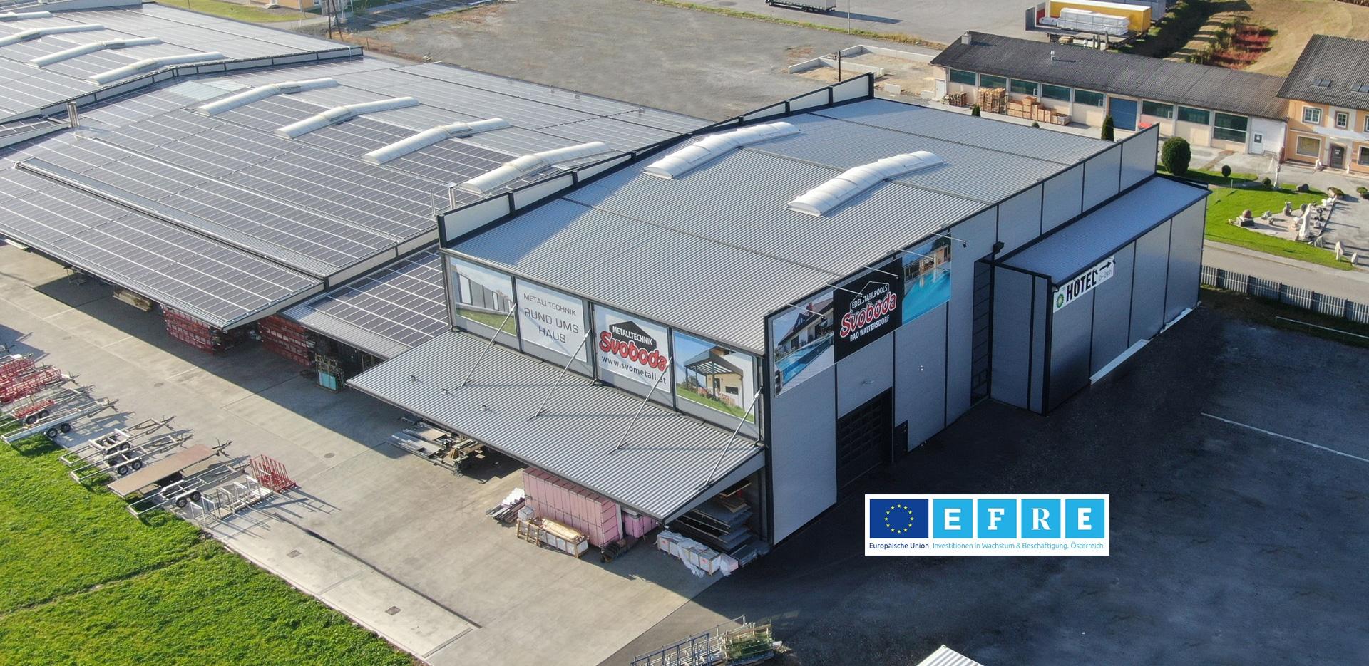 Svoboda Metalltechnik Hallenzubau Halle 3 2019 Edelstahlproduktion und Hochregallager Außenansicht