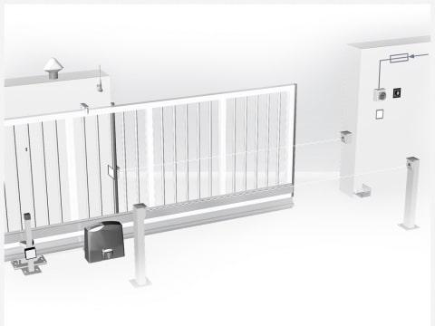 Grafik | Automatisches, elektrisches Schiebetor mit Motor skizziert | Svoboda Metalltechnik